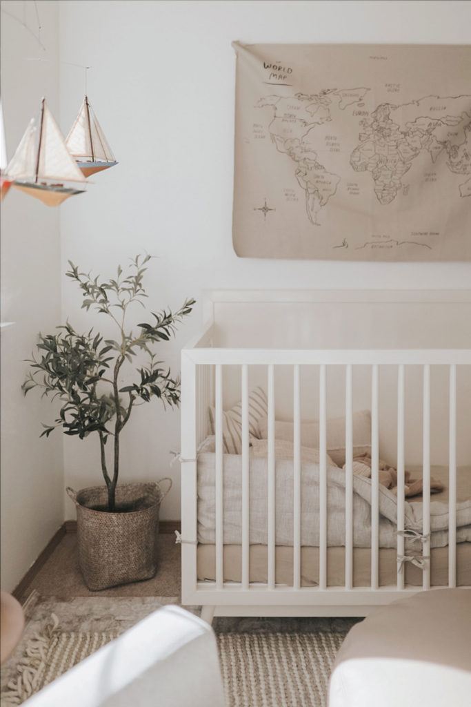 Light Airy Kids Room with Olive Tree, Crib, and Light Toned Walls After Preset Application